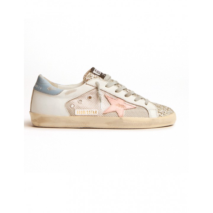 Купить Кеды Golden Goose  'Superstar' LTD sneakers in white leather with mesh insert and silver glitter tongue