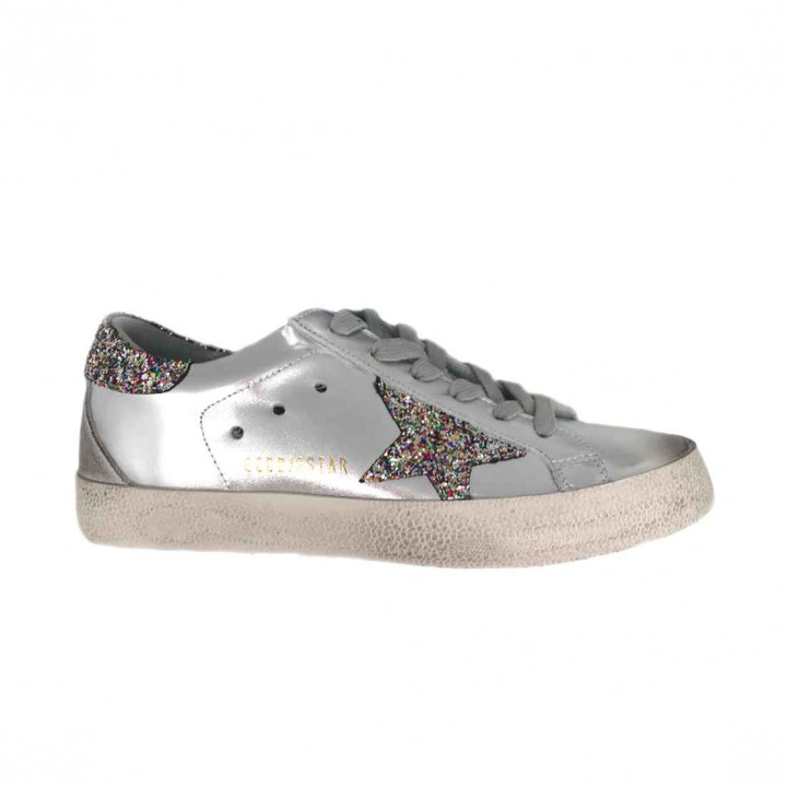 Купить Кеды Golden Goose  'Superstar' silver glitter star