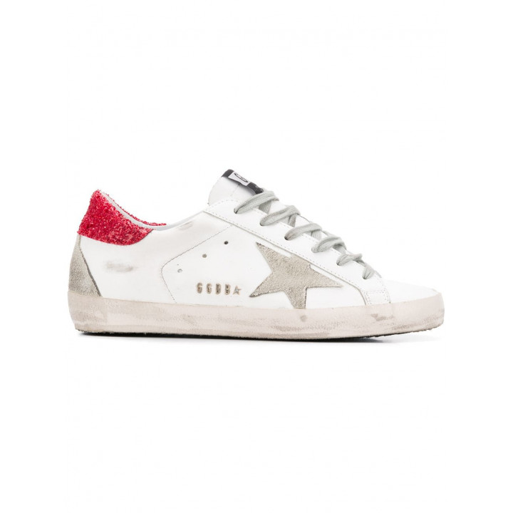 Купить Кеды Golden Goose  'Superstar' red glitter heel