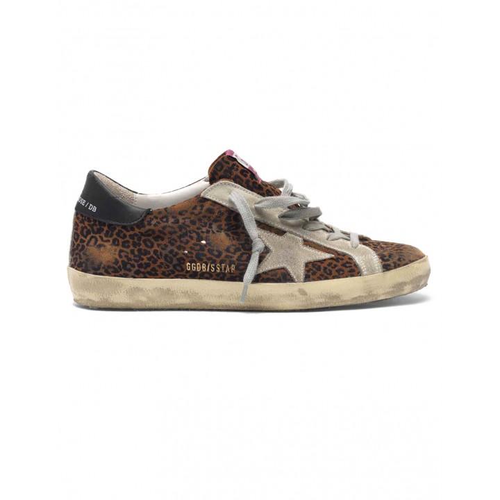 Купить Кеды Golden Goose  'Superstar' leopard flock-print leather