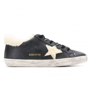 Кеды Golden Goose  'Superstar' черные с мехом