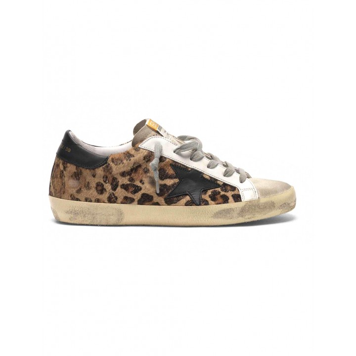 Купить Кеды Golden Goose  'Superstar' leopard print flocked leather