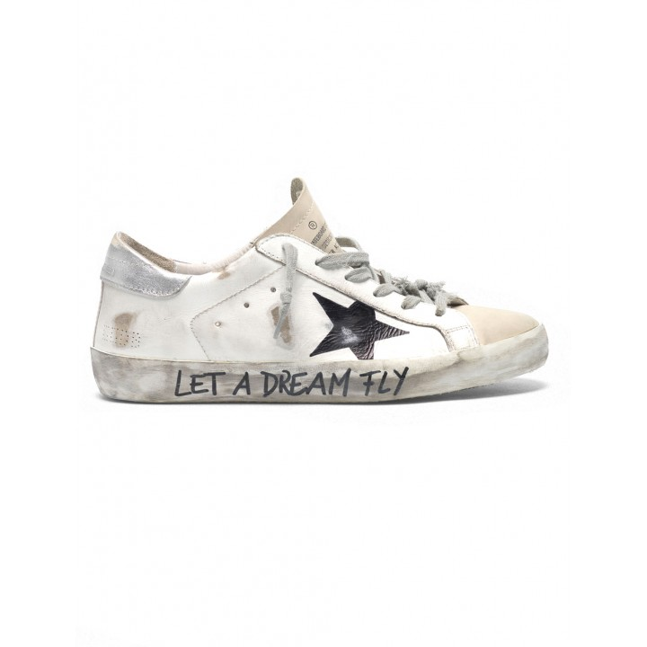"""Купить Кеды Golden Goose  'Superstar' in leather with """"Let a dream fly"""" lettering"""