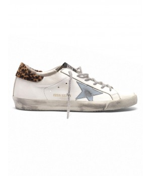 Кеды Golden Goose  'Superstar' with leopard print heel tab